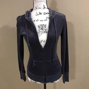 Women's Grey Velour Zip Up Jacket — size S